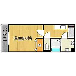 福岡県久留米市東合川町の賃貸マンションの間取り