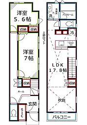 [テラスハウス] 東京都国立市東4丁目 の賃貸【/】の間取り