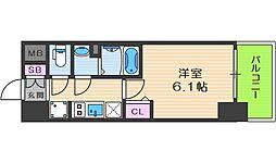 プレサンス天神橋六丁目ヴォワール 9階1Kの間取り