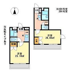 兵庫県加西市北条町横尾の賃貸アパートの間取り