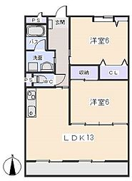 愛知県岡崎市小針町1丁目の賃貸マンションの間取り