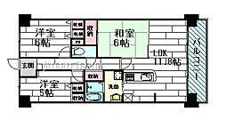 レックスガーデン豊中曽根2番館[6階]の間取り