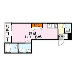 シャーメゾン サブライム 2階ワンルームの間取り