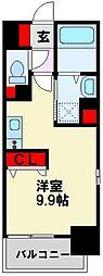 コンダクトレジデンス戸畑 9階ワンルームの間取り