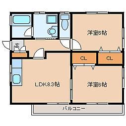 御成第3コーポ(オナリダイ3コーポ)[2階]の間取り