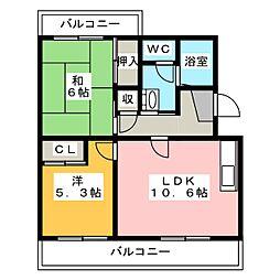 メディオ初生弐番館[1階]の間取り