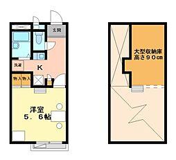 兵庫県三木市志染町中自由が丘1丁目の賃貸アパートの間取り