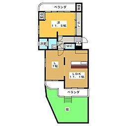 城山マンション 1階1LDKの間取り