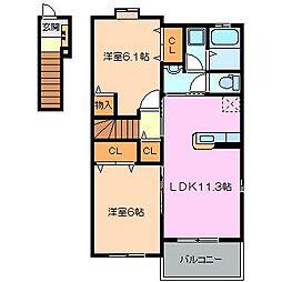 三重県松阪市下村町の賃貸アパートの間取り