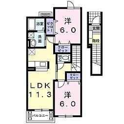 サンパティーク・メゾンC[2階]の間取り