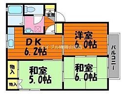 岡山県都窪郡早島町前潟丁目なしの賃貸アパートの間取り