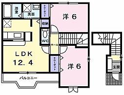 東京都武蔵村山市本町4丁目の賃貸アパートの間取り
