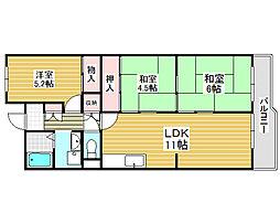 サニーハイツ堺8号棟[4階]の間取り