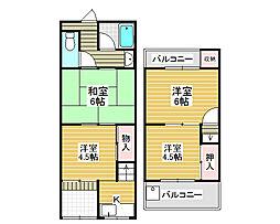 [テラスハウス] 大阪府堺市北区東浅香山町1丁 の賃貸【/】の間取り