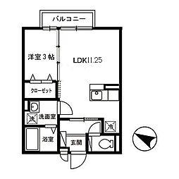 クラインガルテン A棟[206号室]の間取り