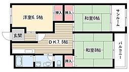 愛知県名古屋市守山区天子田1丁目の賃貸アパートの間取り