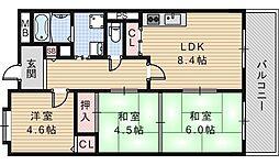 ラヴィータ南田辺[2階]の間取り