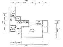 名久井サンポートビル 3階1Kの間取り