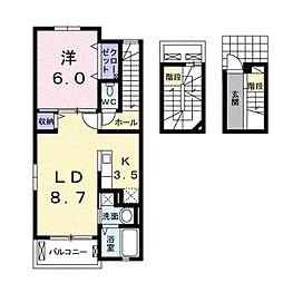 兵庫県西宮市山口町下山口3丁目の賃貸アパートの間取り