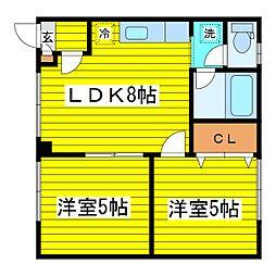 北海道札幌市東区伏古八条3丁目の賃貸アパートの間取り