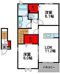 JR鹿児島本線 千鳥駅 徒歩14分の賃貸アパート 2階2LDKの間取り