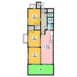 アムール・三ツ屋[1階]の間取り