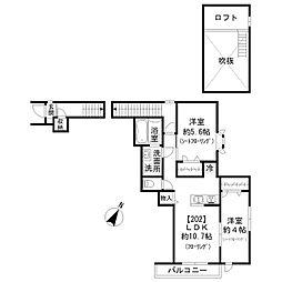 東急東横線 祐天寺駅 徒歩12分の賃貸アパート 1階2LDKの間取り