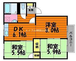 岡山県都窪郡早島町早島丁目なしの賃貸アパートの間取り