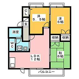 パインハイムB[1階]の間取り