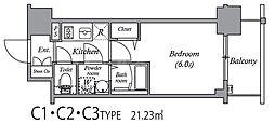エスリード中之島ザ・コア 3階1Kの間取り