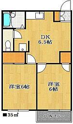 プランドールA棟[2階]の間取り