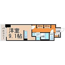 レジデンシア鶴舞公園 9階ワンルームの間取り
