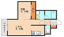 福岡県福岡市南区塩原3丁目の賃貸マンションの間取り