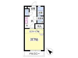 パークアベニュー四番館 2階1Kの間取り