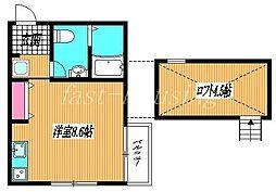 京王井の頭線 三鷹台駅 徒歩16分の賃貸アパート 2階ワンルームの間取り