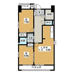 グラン・アベニュー名駅南・西棟[8階]の間取り
