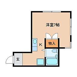 静岡県静岡市葵区安東の賃貸アパートの間取り