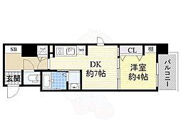 S-FORT都島内代 7階1DKの間取り