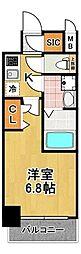 レジュールアッシュTAISHO LEGANT 8階1Kの間取り