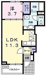 JURI 2 1階1LDKの間取り