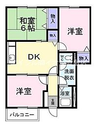 岡山県倉敷市西阿知町丁目なしの賃貸アパートの間取り