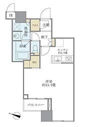 大崎ウエストシティタワーズEAST 5階ワンルームの間取り