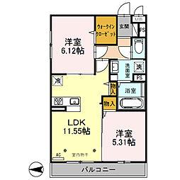 仮)サンアネックスふじみ野II 3階2LDKの間取り