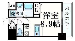 阪急神戸本線 春日野道駅 徒歩5分の賃貸マンション 3階ワンルームの間取り