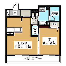 GRAND HILLS KATAKURA 2階1LDKの間取り
