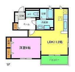 南海高野線 三日市町駅 徒歩12分の賃貸アパート 1階1LDKの間取り