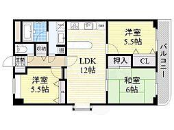 阪急千里線 南千里駅 徒歩11分の賃貸マンション 2階3LDKの間取り
