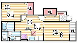 ヴィラカルフールII[1階]の間取り