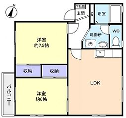 ミラHANASHIMA B[2階]の間取り