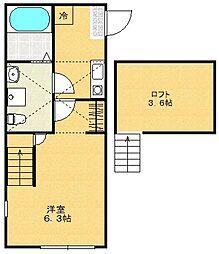 リニアハウス[203号室]の間取り